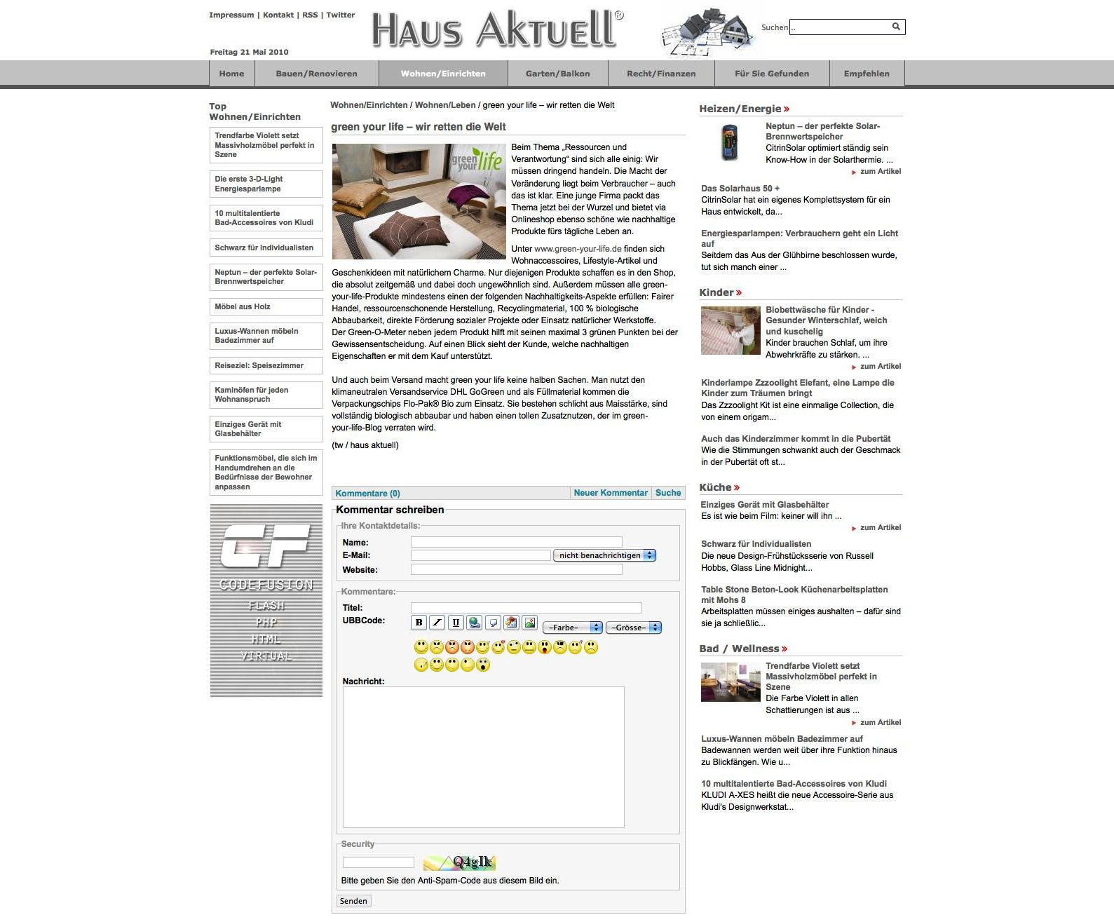 Screenshot Haus Aktuell